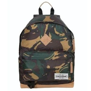 EASTPAK Wyoming Camo NWT Leather Trim Backpack Bag